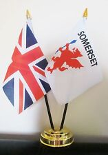UNION JACK AND SOMERSET OLD TABLE FLAG SET 2 flags plus GOLDEN BASE