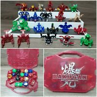 Toy Bakugan Set Lot Of 21 Battle Brawlers With Red Carry Storage Travel Case