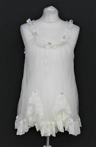 TOSCA Ladies White Floral Nylon Double Layer Lingerie Short Babydoll Camisole L