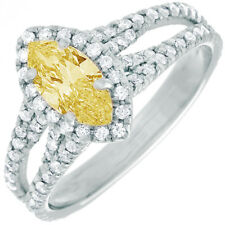 Fancy Yellow Marquise Cut Diamond Engagement Ring GIA Certified 2.36 CT 18k Gold