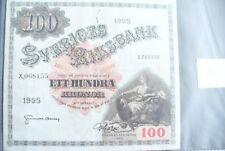 ANCIEN  BILLET -  100  KRONOR   SUÈDE 1955  - ETAT  TTB+ !!!