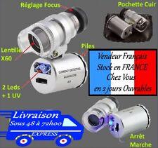 LOUPE portable de bijoutier horloger  éclairé LED + UV Grossissement X60  w07