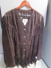 NWT Cripple Creek XL WOMENS 100% Leather Fringe Jacket Dark Brown LL69461