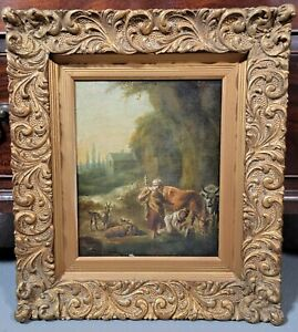 17th century Flemish Dutch Oil Painting Old Master cattle landscape travelers