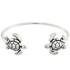Sea Turtle Fashionable Cuff Bracelet - Rhodium Plated