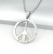 "Silver Retro Hippy Hippie Peace Sign Pendant 24"" 60cm Chain Surfer Necklace"