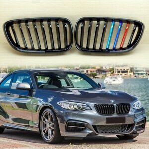 ///M-COLOR METAL LOOK GLOSS BLACK FRONT KIDNEY HOOD GRILL FIT BMW F22/F23/F87