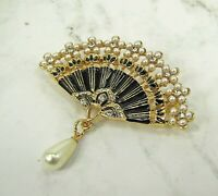 Pearl and Crystal Fan Brooch Pin with Black Enamel and Pearl Tear Drop - NEW