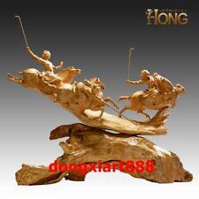 80CM Wu Yaohui Masterpiece Handwork Boxwood equestrian play ball Art Sculpture