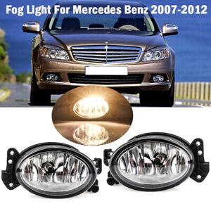For 2007-2012 Mercedes Benz W211 E350 E550 Bumper Fog Lights Lamps W/Bulbs Pair
