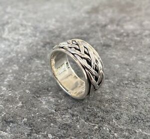 Solid 925 Sterling Silver Mens Spinner Weave Ring Band Celtic 10mm Size T 1/2
