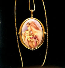 Franklin Mint 925 Silver Silver Gold Plated Hail Mary Heirloom Pendant Usa