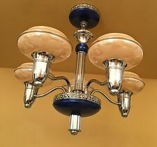Vintage Lighting blue 1930s Gill Glass chandelier