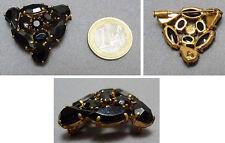 Broche de deuil métal doré + strass vers 1930 mourning brooch