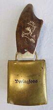 """Vintage Voringfoss Norway Etched Antler Brass Bell Souvenir 6 1/4"""""""