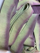 "Vintage Cotton Rayon 7/8"" Petersham Ribbon Grape & Green 1yd Made in France"