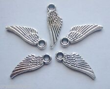 50 x Wings Mini Charms Bird Angel Antique Silver Tone 18x6x1.5mm Pendants - C008