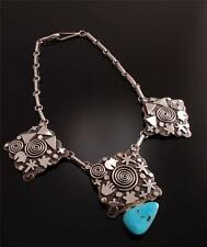 Stunning Petroglyph and  Turquoise Necklace By Alex Sanchez TO81O