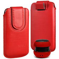 Magnetic PU Leather Pull Tab Flip Case & Mini Speaker For Alcatel Phones