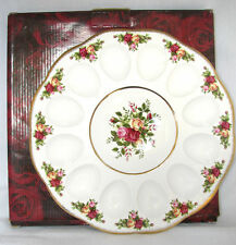 NEW ROYAL ALBERT OLD COUNTRY ROSES DEVILED EGG DISH HOLDS 12 EGGS+BOX