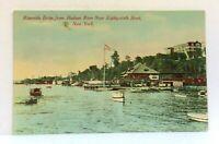 New York City NY Riverside Drive Hudson River 86th St Boats Vintage Postcard