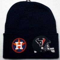 READ ALL! Houston Astros/Texans Heat Applied Flat Logos on Beanie Knit Cap hat