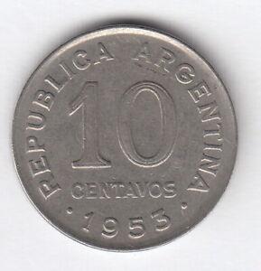 ARGENTINA 1953  10 centavos  - KM#47a  -San Martin -  Nickel clad steel  R.323