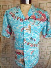 Vintage Blue White Cotton Marc Pooler Paris Short Sleeve Caribbean Resort Shirt