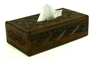 Tissue Box Cover Genuinely HandCarved Wood Beautiful Men's Gift Idea