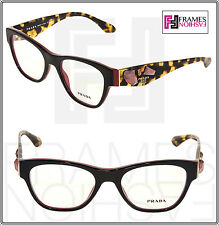 PRADA VOICE PR07RV Brown Havana Red Jewel Black Eyeglasses 07R RX 51mm