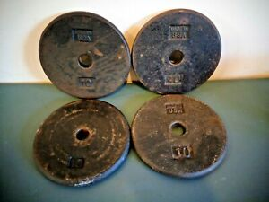 "4 STANDARD 1"" 10LB PANCAKE WEIGHT PLATES 40 LBS TOTAL"