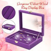 Jewelry Velvet Wood Ring Display Organizer Box Tray Holder Earring Storage Case