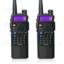2 x BaoFeng UV-5R UHF/VHF Radio Transceiver 3800mah Battery Walkie Talkie Black