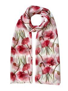 Poppy Flower Print Scarf Women Light Weight  Lady Large size Hijab Shawl Snood