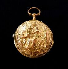 Gold Repousse Verge Fusee Pocket Watch Richards London from 1728 Square Pillars
