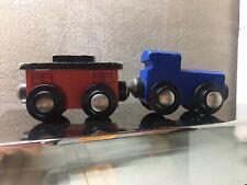 Blue And Red Caboose Car Wooden Train Track Brio Thomas Imaginarium Set Lot