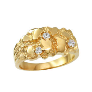 10K Yellow Gold Elegant CZ Nugget Ring