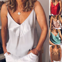 Sexy V-Neck Casual Strap Vest Tops Tank Camisole Women's Solid T-Shirt Blouse