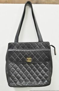 Large Chanel Chocolate Brown Leather Quilted Flap Tote Bag Purse W/ Storage Bag