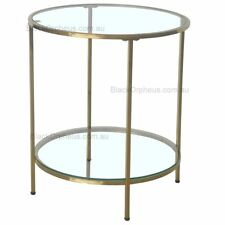 Round Lamp Table, Round Glass Lamp Table with Gold Metal Legs.
