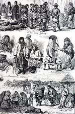 Galaway Ireland 1880 IRISH WOMEN QUAY Making Twine Matted Antique Print w STORY