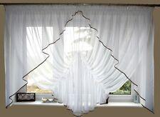 AG20 moderne Rideau prêt à poser en voile Set Beau rideau blanc marron fenêtre