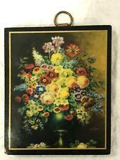 """Vintage Miniature 3"""" Print Floral Still Life on Wood Mid Century du Bois"""