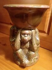 "Hear No Evil, See No Evil, Speak No Evil MONKEY Ceramic Candle Holder Stand 7.5"""