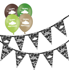 army urban camouflage birthday bunting & assorted birthday balloons pack of 5