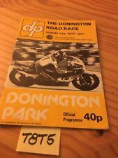 Donington Circuit September 1977 Programme Racing Racing Motorbike Road Race