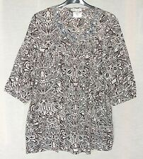 NEW Ulla Popken Printed 3/4 Sleeve Cotton Top with Pockets Plus Size 26/28