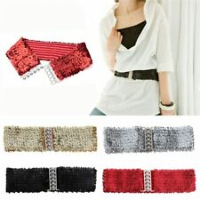 Lady paillettes paillettes ceinture ceintures élastiques Bling Buckle ceinture