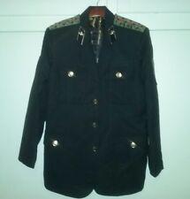 Military Jacket Edward Dada Designer Jacket Black w/Skulls & Dragon Print Lining