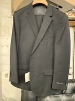 New 46R Men's Black Suit 100% Wool Super 150 Made in Italy Retail $1295